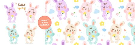 Cute Bunny cartoon spring collection and rabbit Seamless pattern cloud and cheerful flower Stock Illustratie