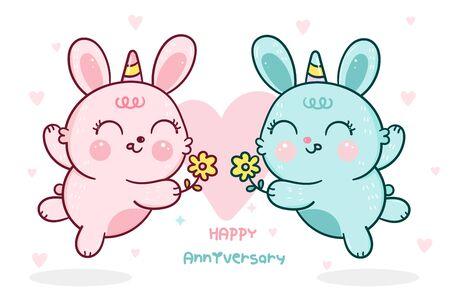 Cute bunny vector rabbits horn cartoon give flower blossom anniversary couple love season