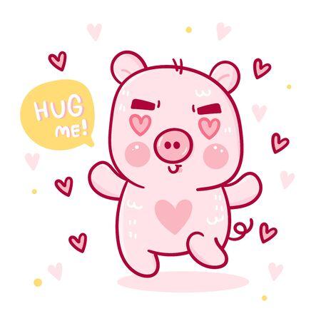 Cute pig cartoon, hug me word vector with heart (Kawaii animal) Ilustração