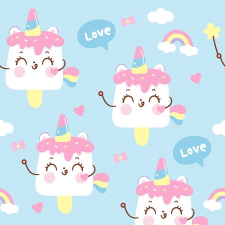 Cute unicorn ice cream cartoon pony Seamless pattern Ilustração