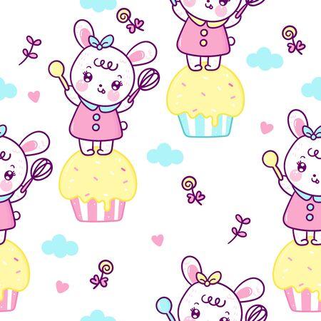Cute bunny seamless pattern rabbit cartoon