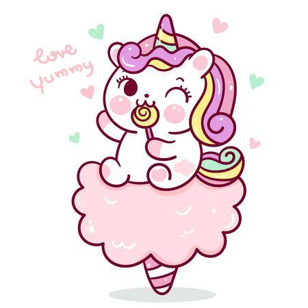 Flat unicorn fairy cartoon Pony Child vector on Cotton candy Kawaii food sweet dessert
