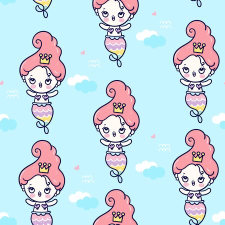 Cute mermaid seamless pattern vector girl cartoon marine ocean