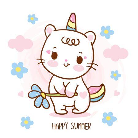 Flat unicorn cat cartoon Pony Child vector holding flower