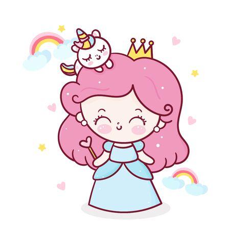 Fairy Princess girl cartoon and unicorn vector with rainbow