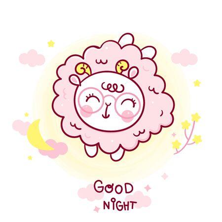 Sheep sleep cartoon and moon vector