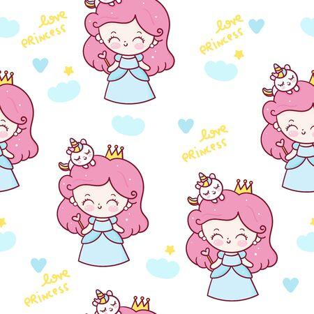 Fairy Princess seamless pattern girl cartoon and unicorn vector Stockfoto - 147236247