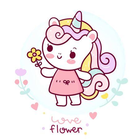Flat unicorn fairy cartoon Pony Child vector Stockfoto - 147075646