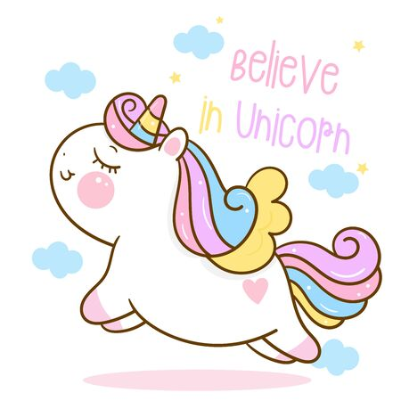 Pony Unicorn Hand Draw Cute cartoon Isolated on white background.