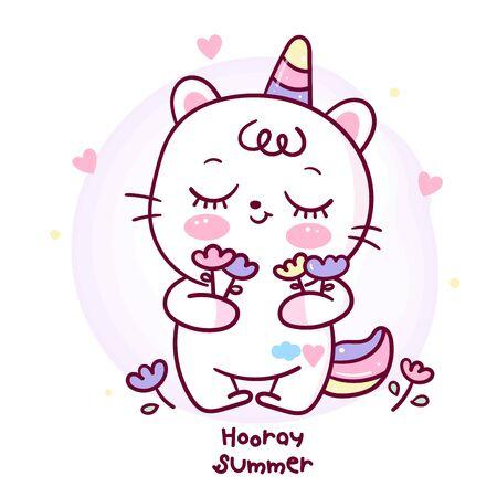 Flat unicorn cat cartoon Pony Child vector holding flower Happy summer.