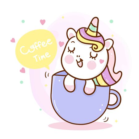 Cute unicorn cartoon pony in cup Hand drawn for baby shower. Stock Illustratie