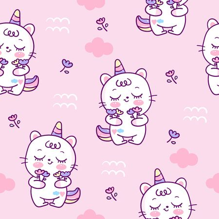 Cute unicorn cat seamless pattern cartoon little pony with flower.