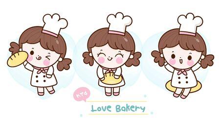 Collection Cute baker girls banner sweet dessert for cafe shop.