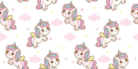 Seamless pattern unicorn fairy cartoon cute Pony Child jump in air with star and cloud