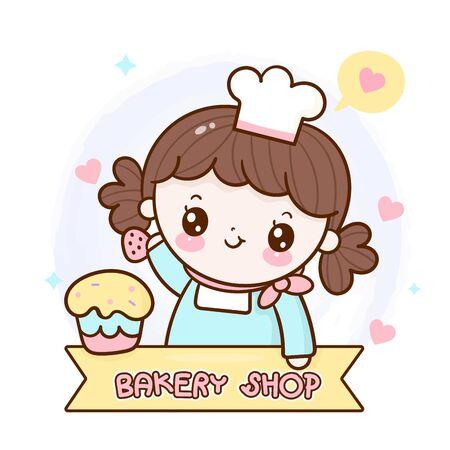 Logo of bakery homemade girl decor cupcake cartoon