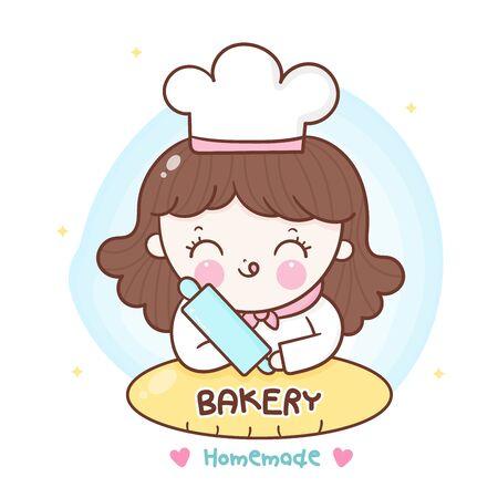 Logo of bakery homemade girl decor bread cartoon