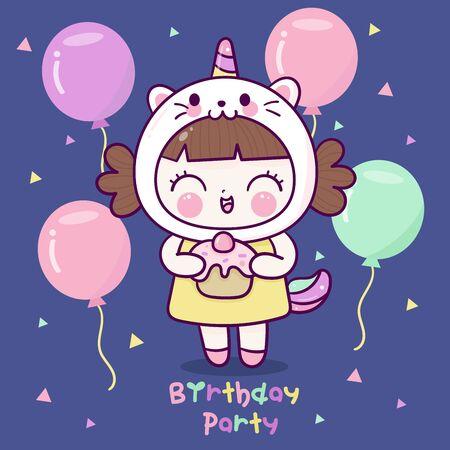 Cute girl cartoon wear fancy unicorn cat dress birthday party balloon