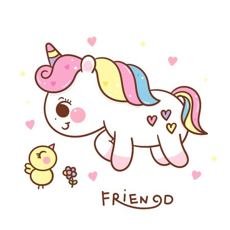 Cute unicorn cartoon with duck kawaii hand drawn Stockfoto - 149062242