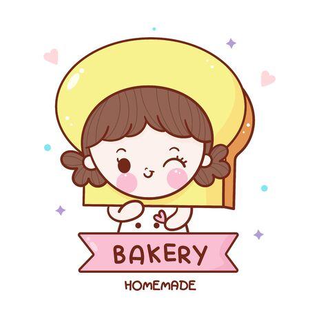 Cute bakery girl cartoon kawaii food dessert hand drawn