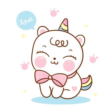 Flat unicorn cat cartoon cute Pony Child vector sweet pet Ilustração