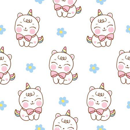 Seamless pattern unicorn cat cartoon kawaii hand drawn Ilustração