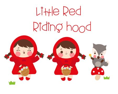 Wolf little red riding hood Set of characters fairytale kawaii Stock Illustratie