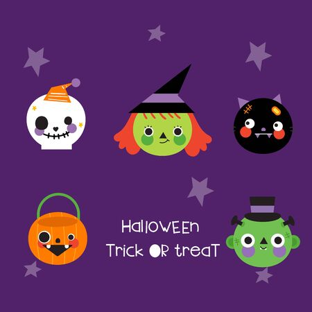 Halloween collection set cartoon trick or treat pumpkin and more Stockfoto - 149394612