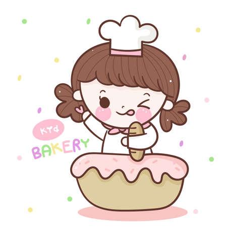 Cute girl bakery logo with cupcake kawaii hand drawn