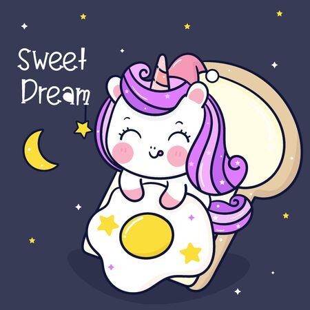 Cute unicorn cartoon pony horse sleep on bread kawaii hand drawn