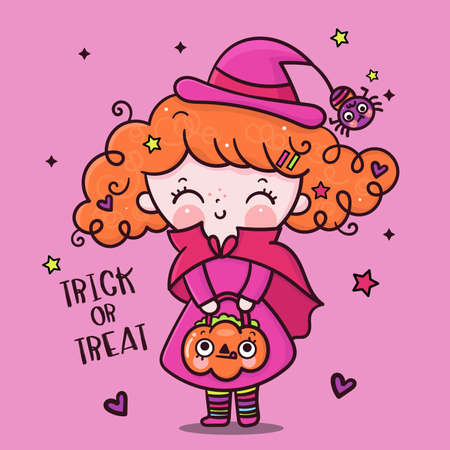 Cute Halloween girl witch vector with pumpkin candy cartoon, Pretty kids Trick or treat for holiday, Fancy dress: Doodle Nursery decoration, hand drawn Kawaii character. Perfect for child greeting.