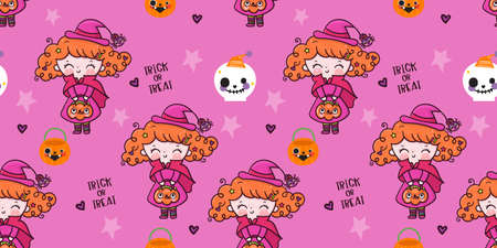 Cute Halloween seamless girl witch vector with pumpkin candy cartoon, Pretty kids Trick or treat for holiday, Fancy dress: Doodle Nursery decoration, hand drawn Kawaii character. Perfect for child gre