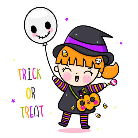 Cute Halloween girl witch vector holding pumpkin candy cartoon and balloon, Pretty kids Trick or treat for holiday, Fancy dress: Doodle Nursery decoration, hand drawn Kawaii character. Perfect for chi