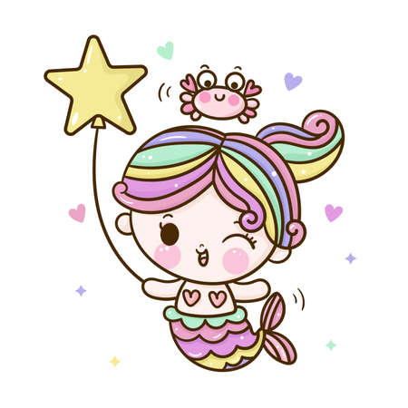 Cute mermaid vector girl cartoon marine ocean happy crab and balloon: Series Kawaii animals character design sweet fairytale Girly doodles pastel color. Perfect for greeting card, Print t-shirt. Roman