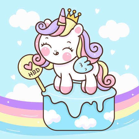 Flat unicorn princess fairy cartoon Pony Child vector with pastel rainbow: Series Fairytale Kawaii animals horse(cute Girly doodles). Perfect for Nursery kids, greeting card, baby shower girl, fabric Stock Illustratie