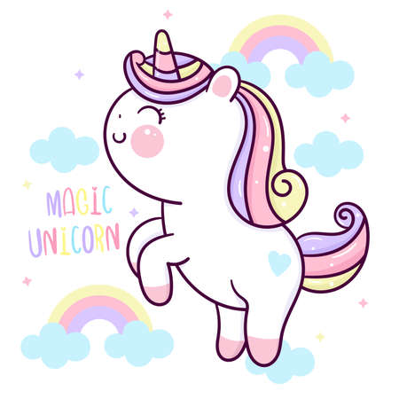 Flat unicorn fairy cartoon Pony Child vector with pastel rainbow and cloud: Series Fairytale Kawaii animals horse(cute Girly doodles). Perfect for Nursery kids, greeting card, baby shower girl, fabric