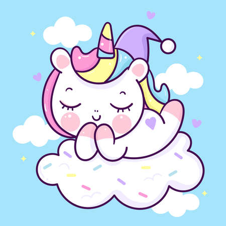 Flat unicorn fairy cartoon Pony Child vector magic sleep sweet dream with candy cloud: Series Fairytale Kawaii animals horse(cute Girly doodles). Perfect for Nursery kids, greeting card, baby shower.