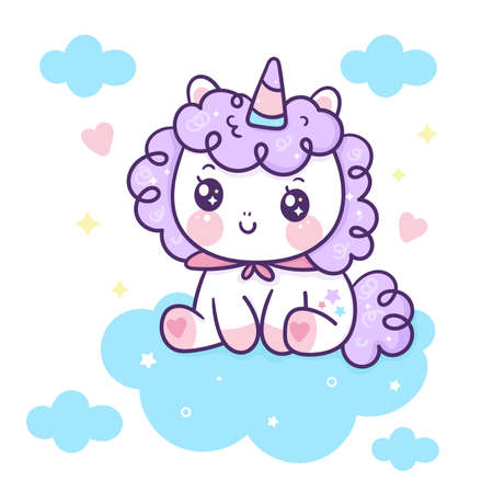 Flat unicorn fairy cartoon Pony Child vector with sweet cloud: Series Fairytale Kawaii animals horse character (cute Girly doodles). Perfect for Nursery kids, greeting card, baby shower girl, fabric.
