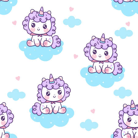 Seamless pattern unicorn fairy cartoon Pony Child vector on cloud: Series Fairytale Kawaii animals (Girly doodles). Perfect for Nursery kids, greeting card, baby shower girl, fabric design, Print.