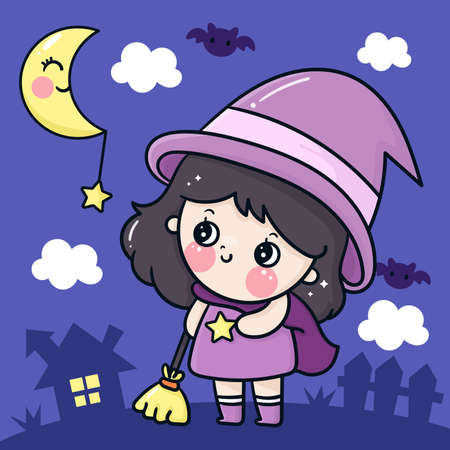Cute Halloween girl cartoon witch vector holding broom, adorable moon bat and star Pretty kids Trick or treat for holiday, Fancy dress: Doodle Nursery decoration, hand drawn Kawaii character. Perfect