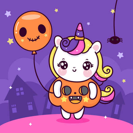 Cute unicorn Halloween cartoon wear pumpkin fancy dress holding ghost balloon. Trick or treat for holiday: Doodle Nursery decoration, hand drawn Kawaii character. Perfect for child greeting card,Print