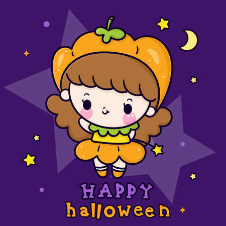 Cute Halloween girl vector wear pumpkin fancy dress cartoon and star, Pretty kids Trick or treat for holiday: Doodle Nursery decoration, hand drawn Kawaii character. Perfect for child greeting card.