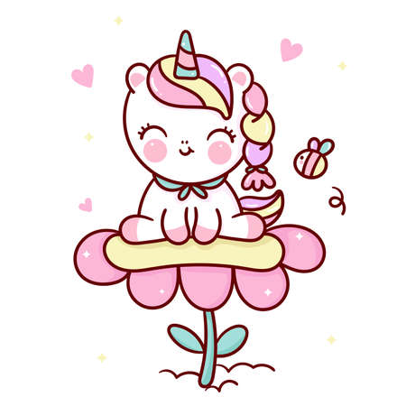 Flat unicorn fairy cartoon Pony Child vector and bee with pastel flower: Series Fairytale Kawaii animals horse(cute Girly doodles). Perfect for Nursery kids, greeting card, baby shower girl, fabric. Stock Illustratie