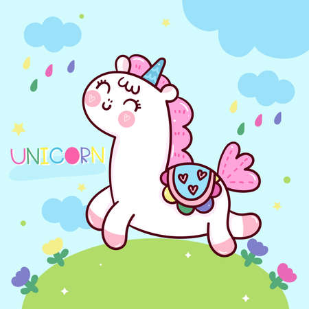 Cute unicorn cartoon fairy pony Child vector with pastel flower and sweet background: Series Fairytale Kawaii animals horse(cute Girly doodles). Perfect for Nursery kids, greeting card, baby shower. Stock Illustratie