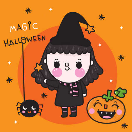 Cute Halloween girl witch vector with pumpkin cartoon and spider, Pretty kids Trick or treat for holiday, Fancy dress: Doodle Nursery decoration, hand drawn Kawaii character. Perfect for child. Stockfoto - 155153287