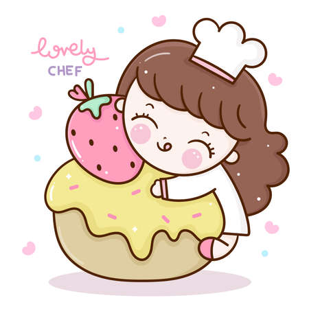 Chef cartoon cooking Cute girl vector with cupcake Kawaii bakery shop logo kid dessert culinary food cafe: Series Sweet homemade Happy birthday party, Girly doodle. Magic character on white background