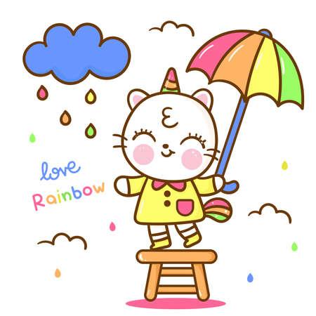 Cute Unicorn cat vector with rainbow cloud vector pony express rainy cartoon: Series fairy tale characters kawaii animals horse (flat Girly doodles). Perfect Nursery children, kids, greeting card.