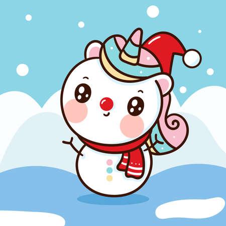 Cute Unicorn snowman vector hug christmas tree pony cartoon x mas festival happy new year: Series fairy tale characters kawaii animals horse (flat Girly doodles). Perfect Nursery children, kids. 向量圖像