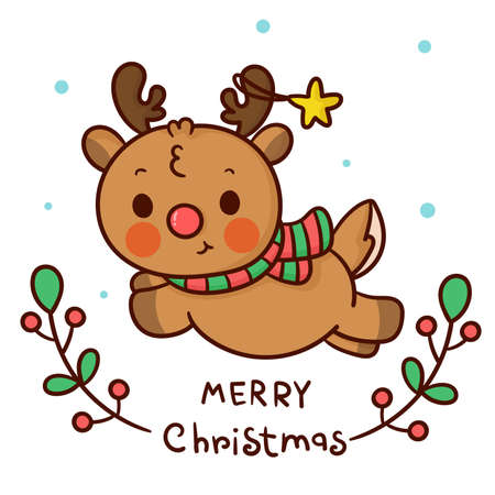 Cute reindeer vector with merry christmas winter cartoon x mas festival happy new year: Series fairy tale characters (flat Girly doodles). Perfect Nursery children, kids, greeting card, baby. Çizim
