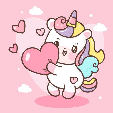 Cute Unicorn vector pegasus hug heart pony cartoon pastel background Valentine day festivel: Series fairy tale characters kawaii animals horse (flat Girly doodles). Perfect Nursery children, kids.