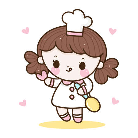 Cute girl vector holding spoon Kawaii bakery shop logo cartoon for kid dessert homemade food: Series Sweet Chef cooking, Girly doodle. Magic character on white background illustration. Perfect design.